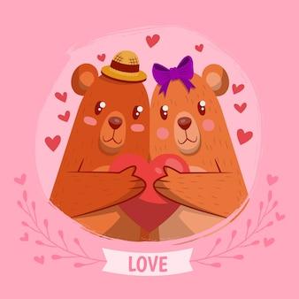 手描きのバレンタインデーのクマのカップル