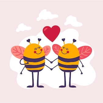 Hand drawn valentine's day bee couple