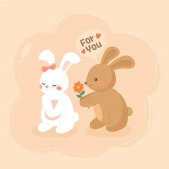 손으로 그린 발렌타인 토끼 커플
