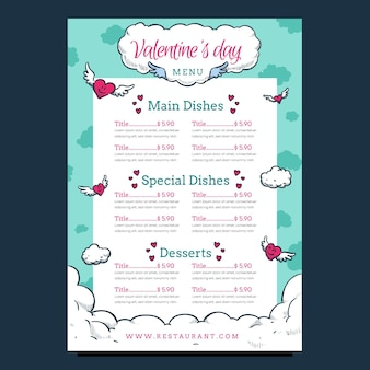 Hand drawn valentine's day clouds menu template
