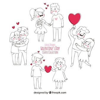Hand drawn valentine's day couple collection