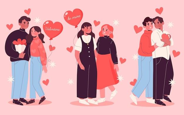 手描きバレンタインデーカップルコレクション