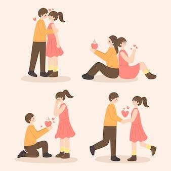 Pacchetto di coppia di san valentino disegnato a mano