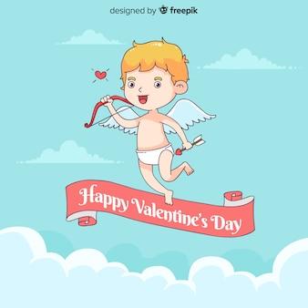 Hand drawn valentine's day cupid background