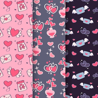 Hand drawn valentine's day cute pattern collection