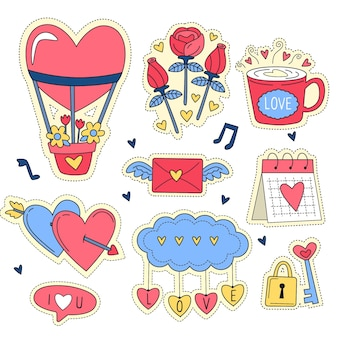 手描きのバレンタインデーの要素コレクション
