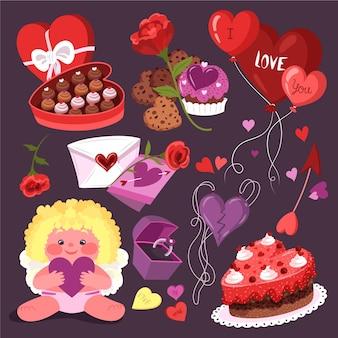 Hand drawn valentine's day element collection