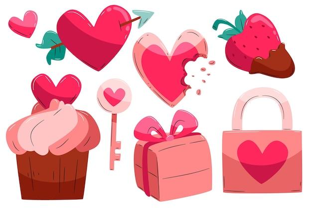 Pacchetto di elementi di san valentino disegnati a mano
