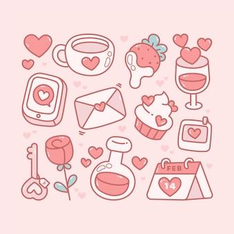 手描きバレンタインデー要素パック