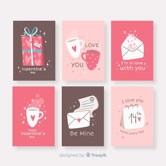 Hand drawn valentine's day elements card pack