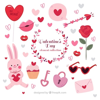 Hand drawn valentine's day elements collection