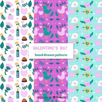 Hand drawn valentine's day elements  patterns