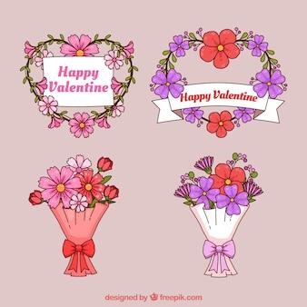 손으로 그린 발렌타인 꽃 화 환 및 꽃다발