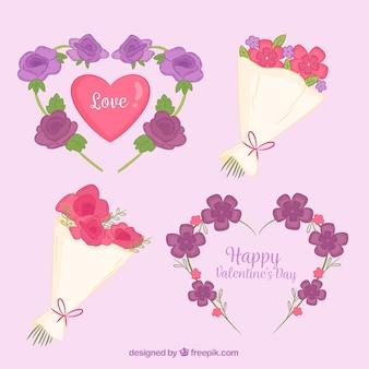 Hand drawn valentine's day floral wreaths & bouquets