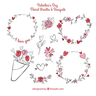 Hand drawn valentine's day floral wreaths & bouquets