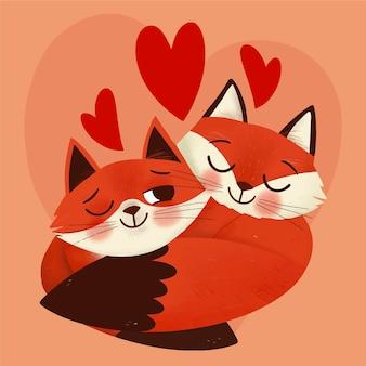 Нарисованная рукой пара лисиц ко дню святого валентина