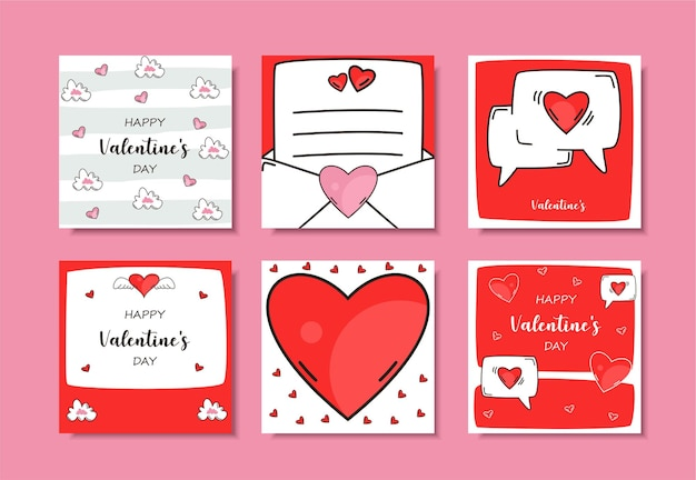Hand drawn valentine's day instagram post set