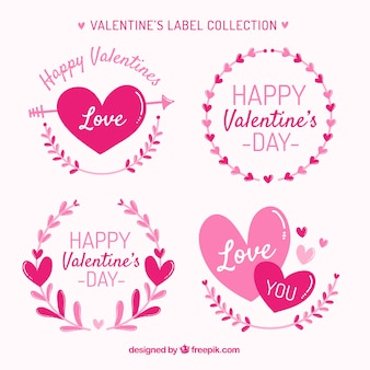 Hand drawn valentine's day label/badge collection Free Vector