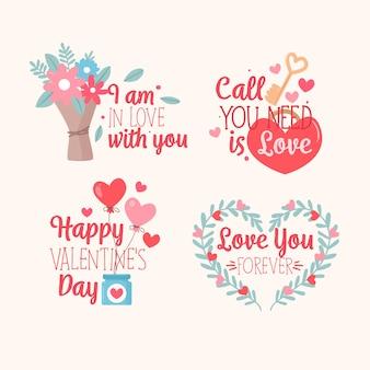 Hand drawn valentine's day label/badge set