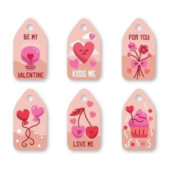 Collezione di etichette di san valentino disegnate a mano