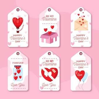 Hand drawn valentine's day label collection