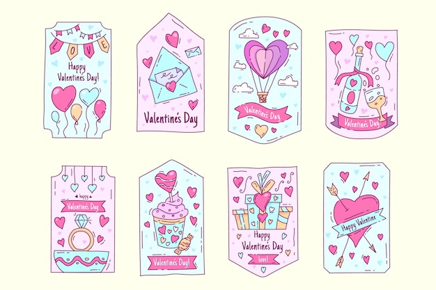 Hand drawn valentine's day label pack