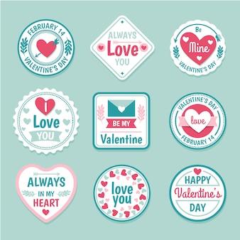 Hand drawn valentine's day label set