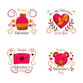 Hand drawn valentine's day labels with ribbons