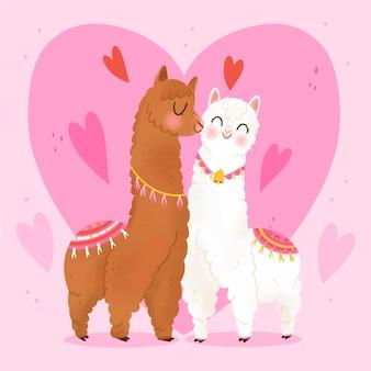 손으로 그린 발렌타인 라마 커플