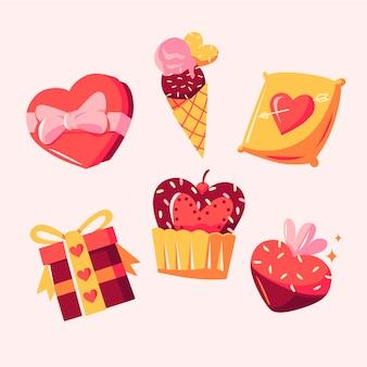 手描きのバレンタインデーの素敵な要素のコレクション