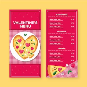 Нарисованный рукой комплект шаблона меню дня валентинки