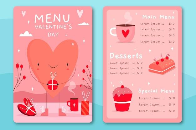 Нарисованный рукой шаблон меню дня валентинки с большим сердцем