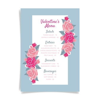 Hand drawn valentine's day menu template with flowers