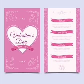 Hand-drawn valentine's day menu template