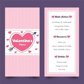 Hand drawn valentine's day menu template