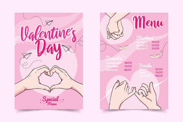 Hand drawn valentine's day menu template