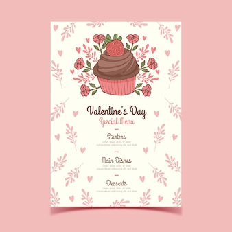 Hand drawn valentine's day menu with floral cupcake