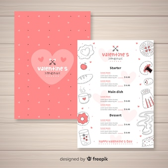 Hand drawn valentine's day menu