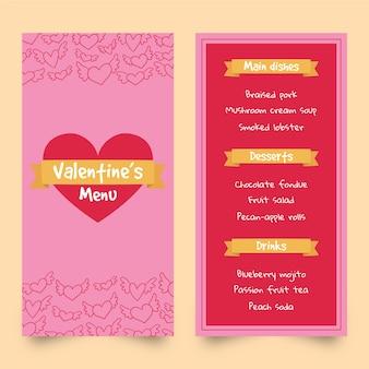 Hand drawn valentine's day menu