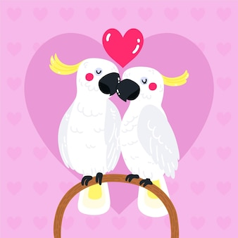Hand drawn valentine's day parrots couple
