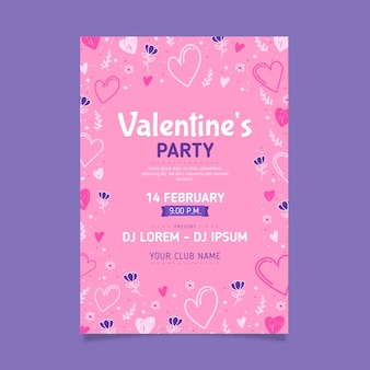 Hand drawn valentine's day party flyer template