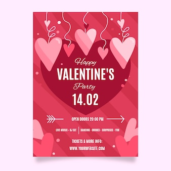 Hand drawn valentine's day party poster template
