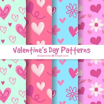손으로 그린 발렌타인 패턴 컬렉션