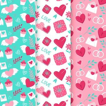 Hand drawn valentine's day pattern collection