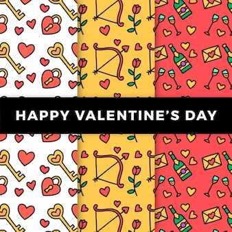 Hand drawn valentine's day pattern collection