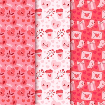 Hand-drawn valentine's day pattern collection