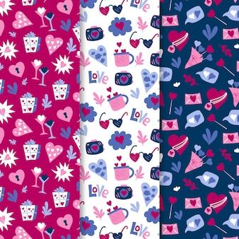 손으로 그린 발렌타인 패턴 팩