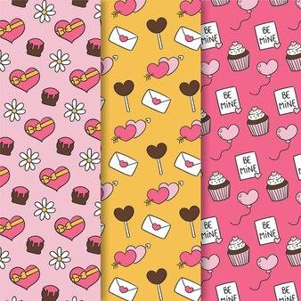 Hand drawn valentine's day pattern set