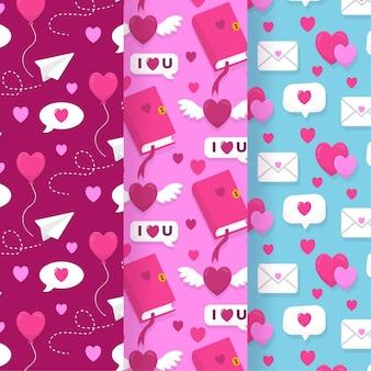 손으로 그린 발렌타인 패턴 세트
