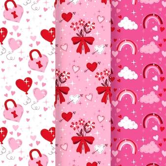手描きのバレンタインデーのパターンセット